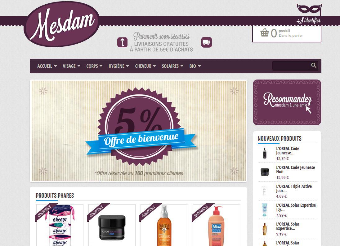MESDAM site e-commerce