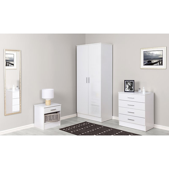Galaxy Wardrobe Set White - Flatpack