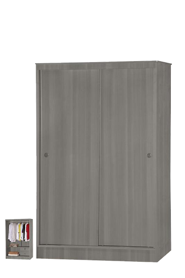 2 Door sliding grey oak wardrobe