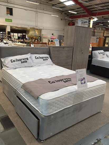 Cadiz Bed Set Silver - With Drawers & Headboard