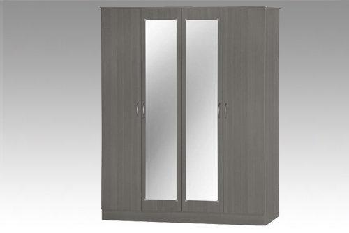Grey 4 Door Wardrobe