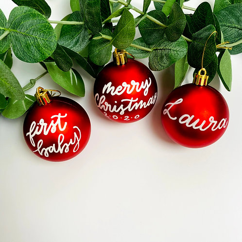 "2.5"" Personalized Round Christmas Bauble in Red or Silver"