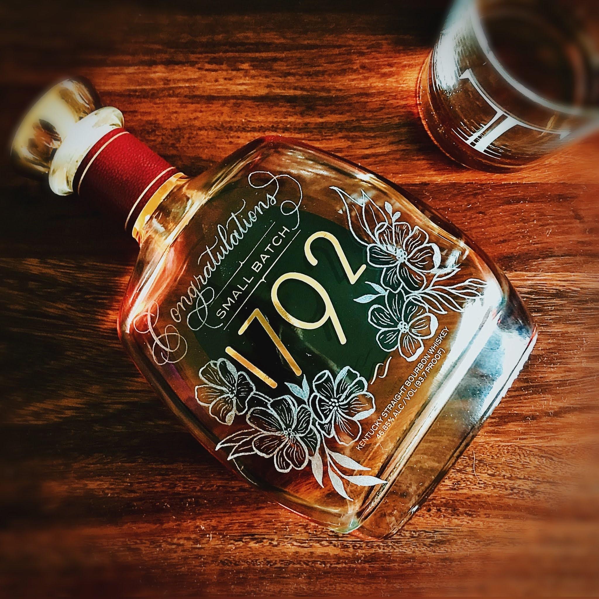 Glass Engraved Whiskey Bottle