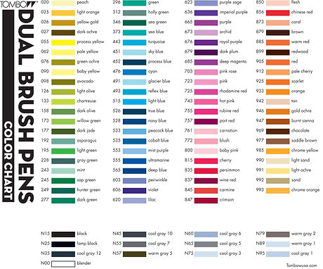 tombow dual brush pen color chart_edited