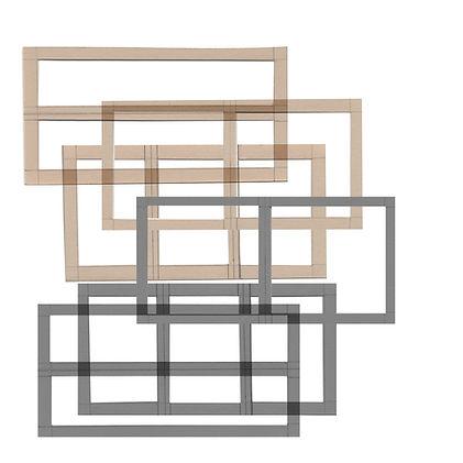 Réitération des formes dessinées sur un papier cartonné numérisé.