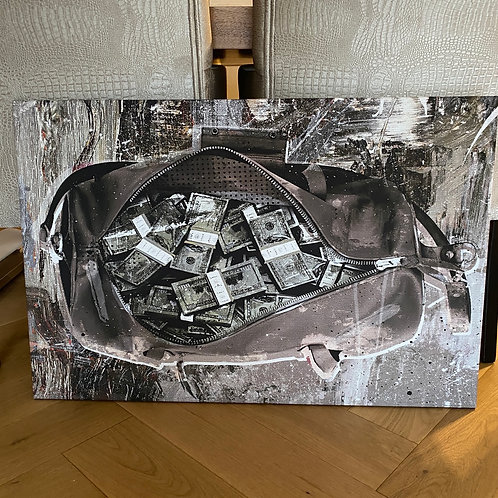 Schilderij Money bag dark