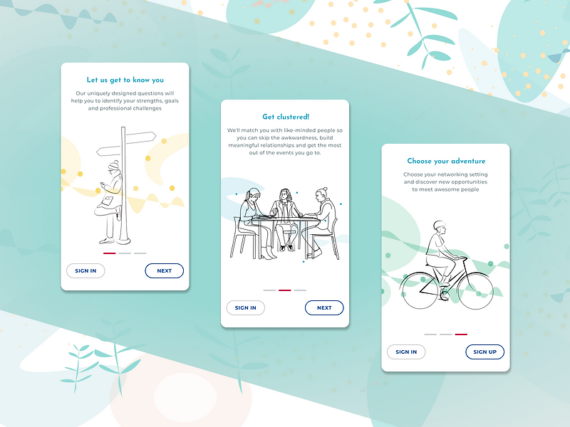Clustered Onboarding Screens Illustratio