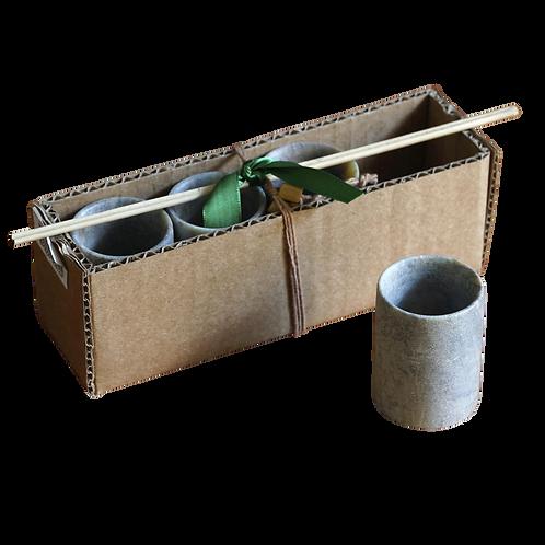 Kit com Quatro Copos em Pedra Sabão