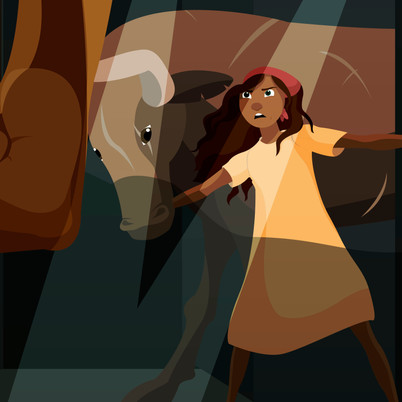 Girl and her Bull