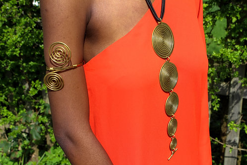 Spiral long necklace & armlet set