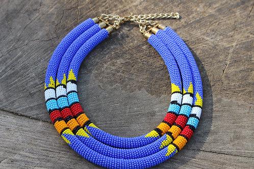Light Blue Triple layered Masai Necklace