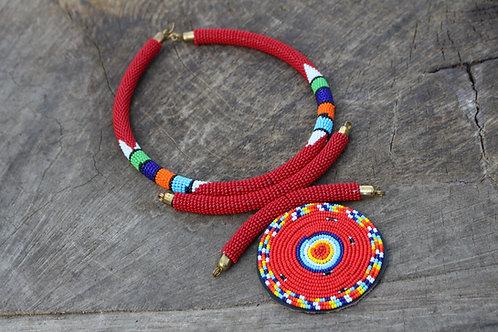 Adongo Necklace Red Masai Pendant Necklace