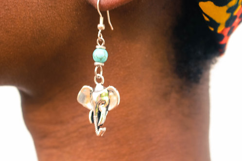 Tortoise & Silver elephant earrings