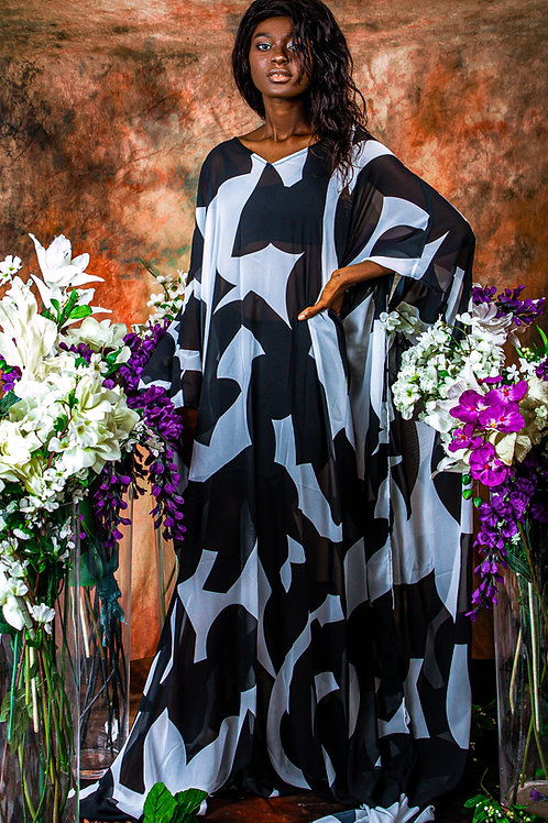 Black and white Geometric Gown