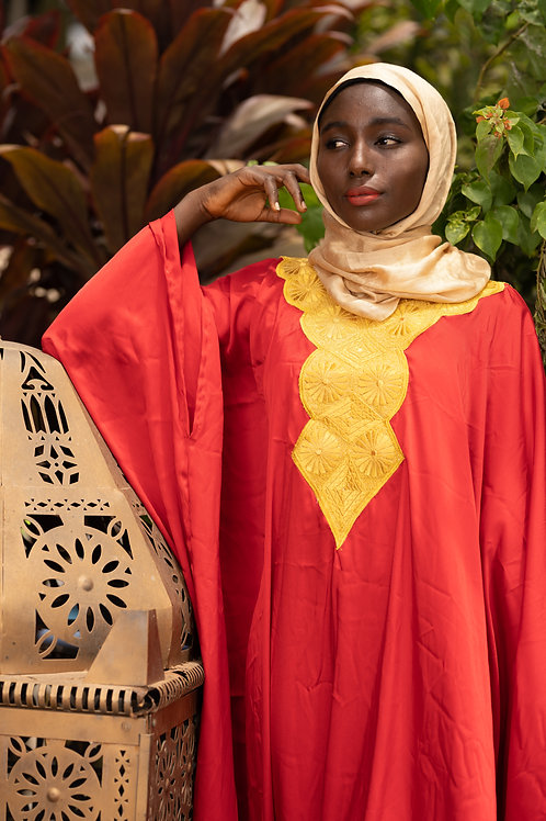 Gold Embodied Red silk Gown