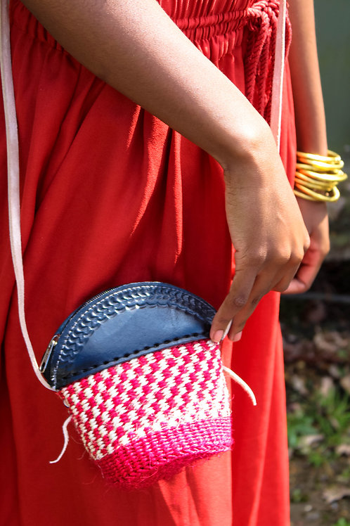 Checkered pink, brown and black petite sling bag