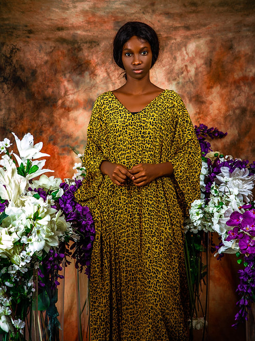 Yellow lepard print gown