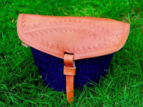 Purple  sisal and leather sling bag