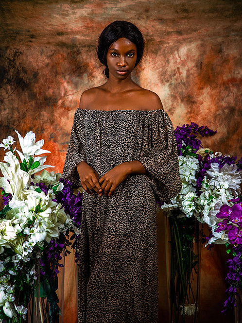Off-the-shoulder Leopard Print Dress