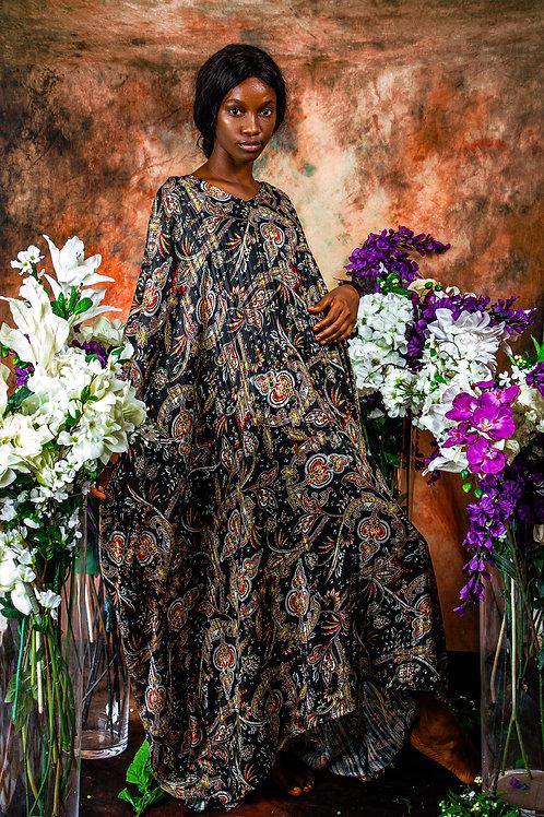Motif print gown