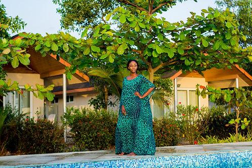 Madam Kula Green Leopard Print Maxi Dress