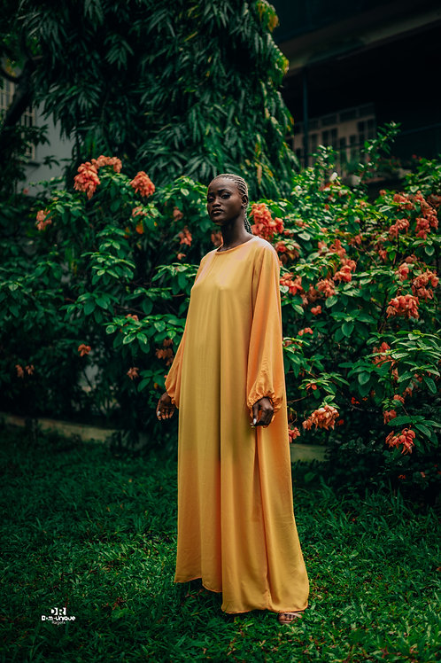 Yellow puff-sleeve dress