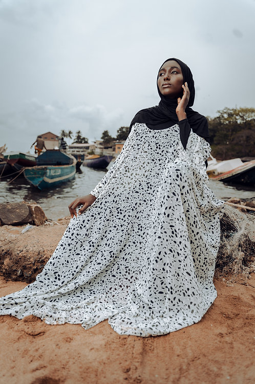 White and Black Abstract Print Gown