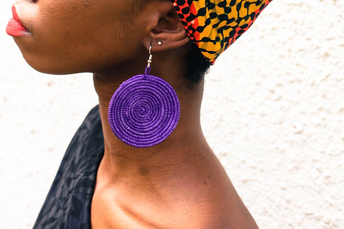 Purple Sisal Earring