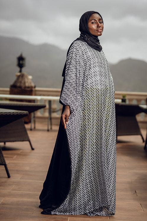 Black & white zig zag gown