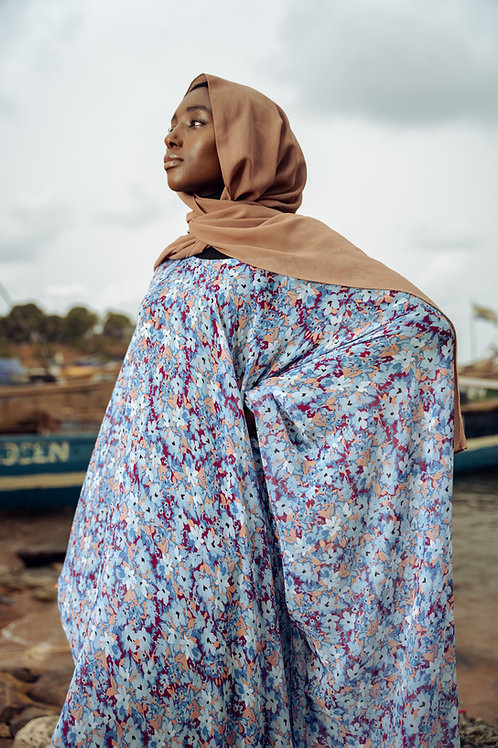 Blue Floral Bomb Print Gown