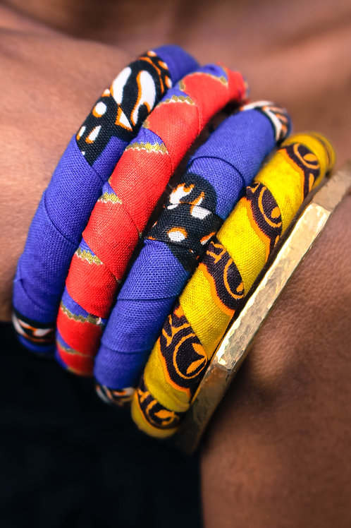 Ankara and brass bracelets