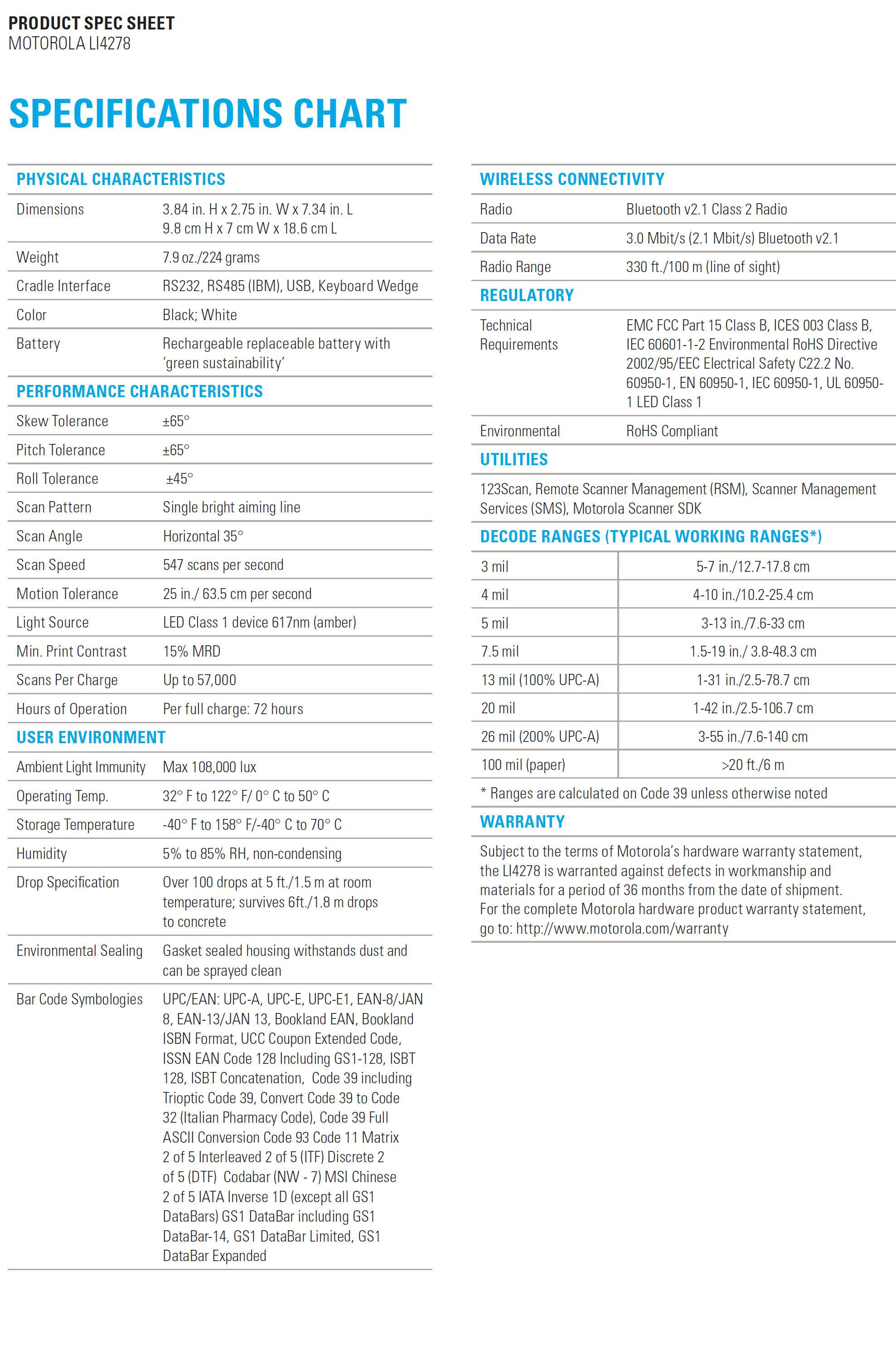 MOTOROLA LI4278 Cordless Linear Scanner | vtech