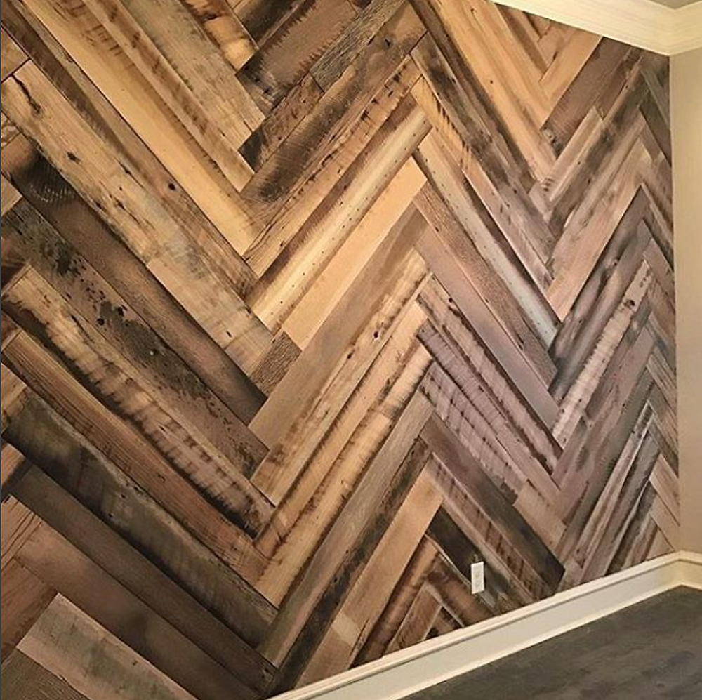Reclaimed Herringbone Wood Wall