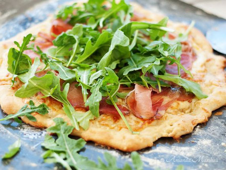 Pear, Prosciutto, and Arugula Microgreens Pizza