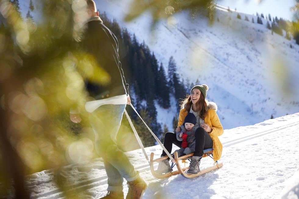 family in winter