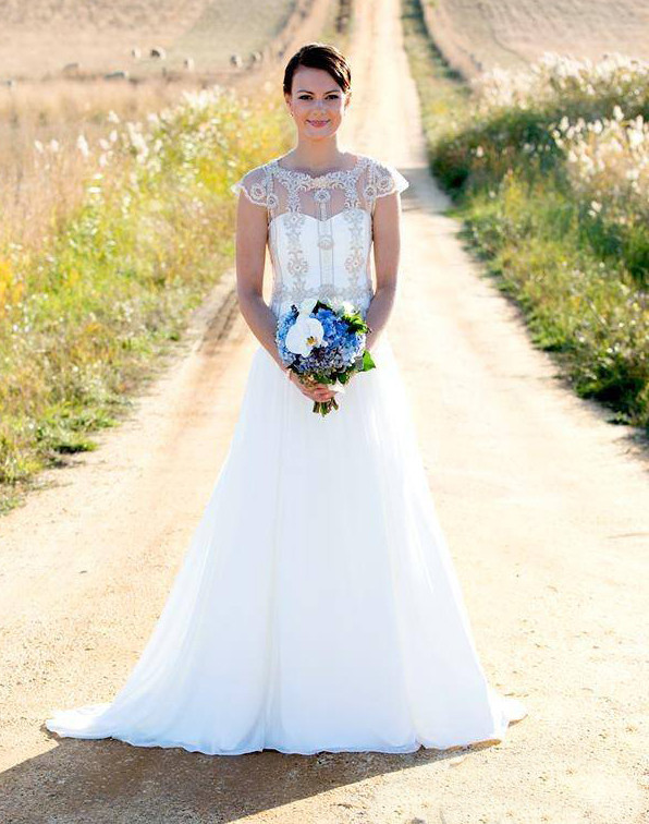 Styled shoot, lace & chiffon bridal gown
