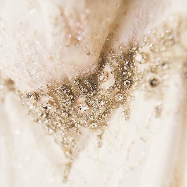 Bridal gown lace & belt detail
