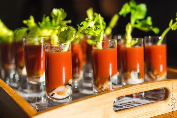 Oyster bloody mary shots