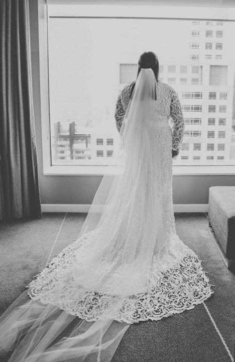 Bridal gown & cathedral veil