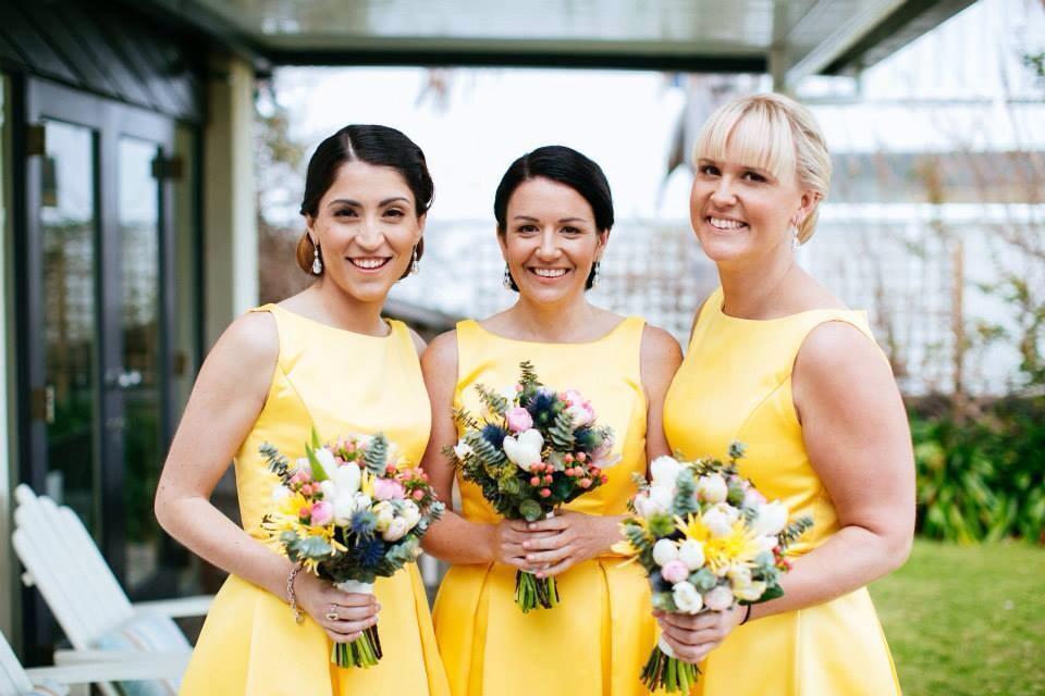 Beautiful Bridesmaids in vibrant yellow!