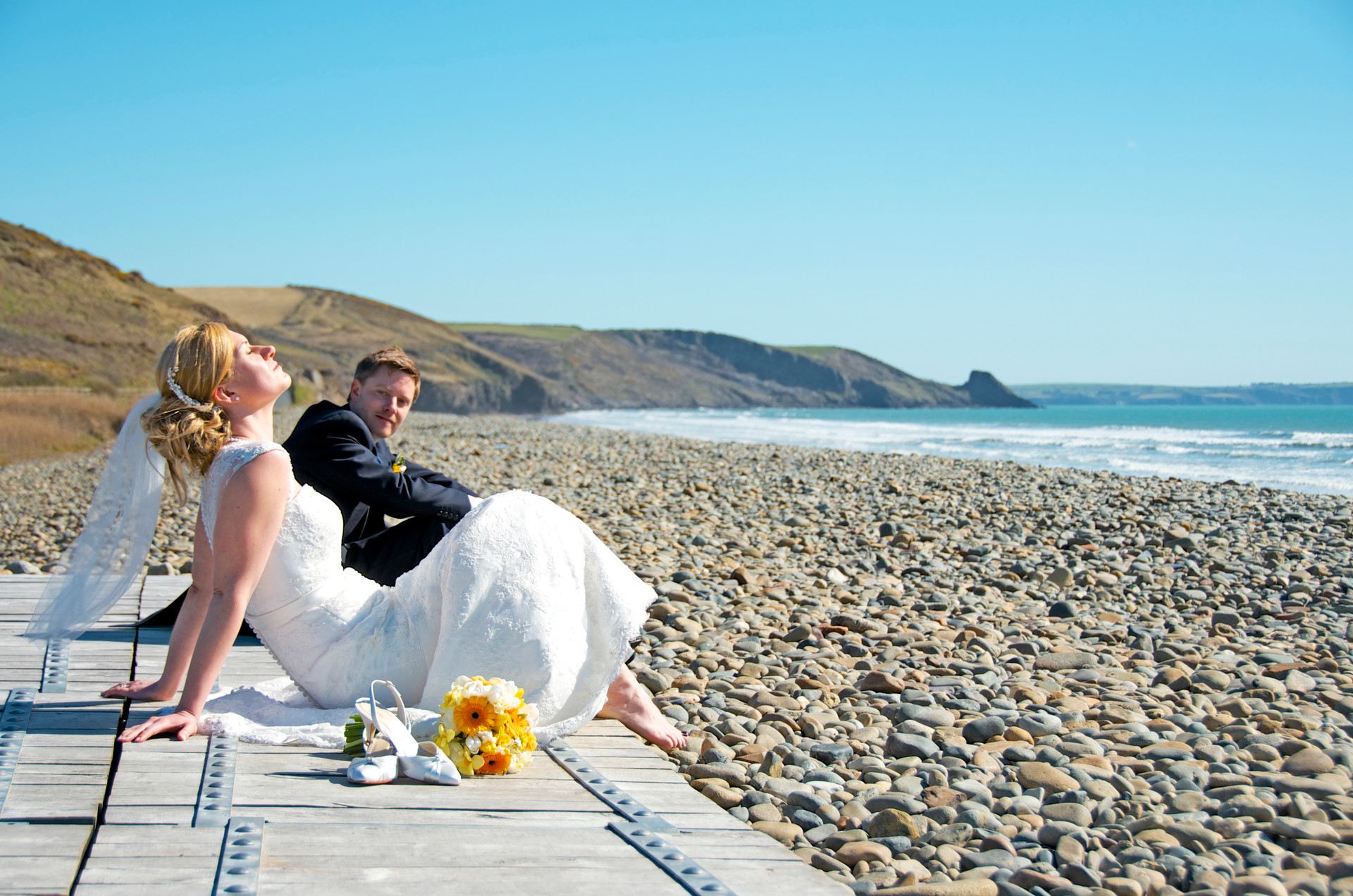 beach wedding west wales wedding photography