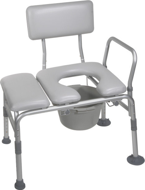Combination Padded Transfer Bench with Commode Opening