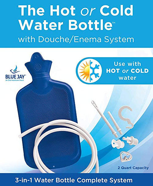 Hot/Cold Rubber Water Bottle with Douche Enema System