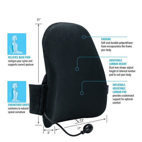 CUSTOMAIR BACKREST WITH INFLATABLE  LUMBAR PAD