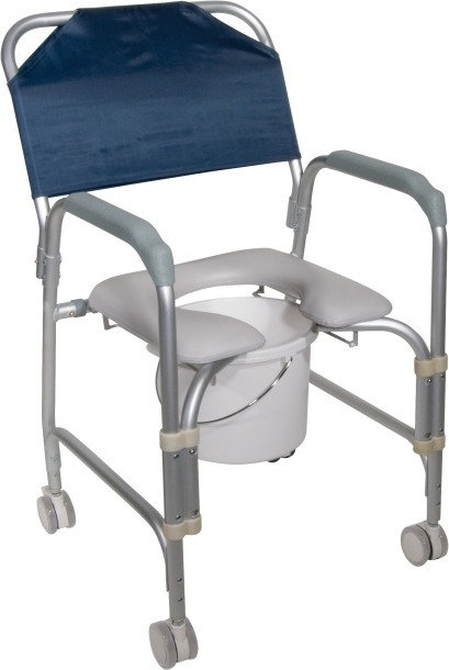 Portable Aluminum Shower Chair and Commode with Casters