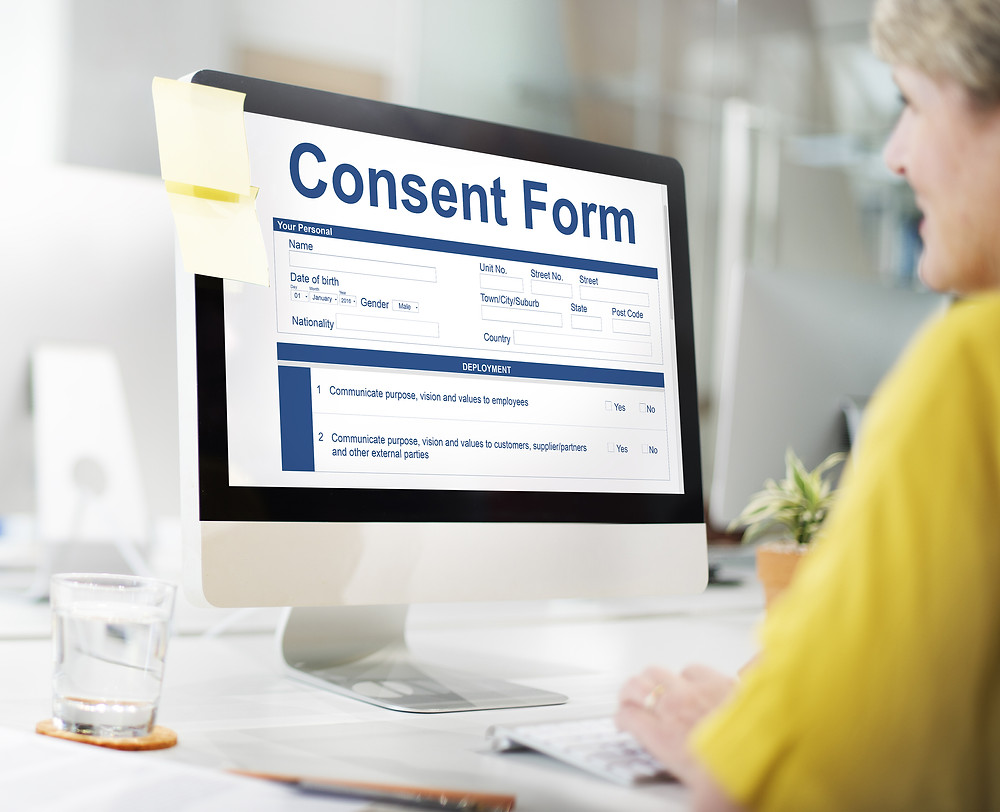 Screen with consent form