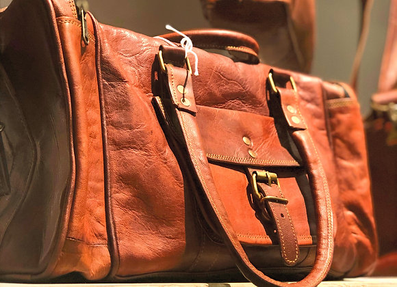 """18"""" Travel Duffel Bag, leather, vintage style"""
