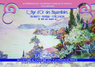 """EXPOSITION """"L'Âge d'Or des Aquarellistes, Monaco-Riviera-Côte d'Azur, de 1850 aux a"""