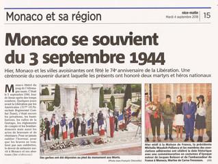 Célébration du 74e anniversaire de la Libération de la Principauté à la Maison de France