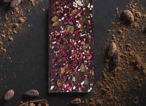 Tablette de chocolat noir aux pétales de rose